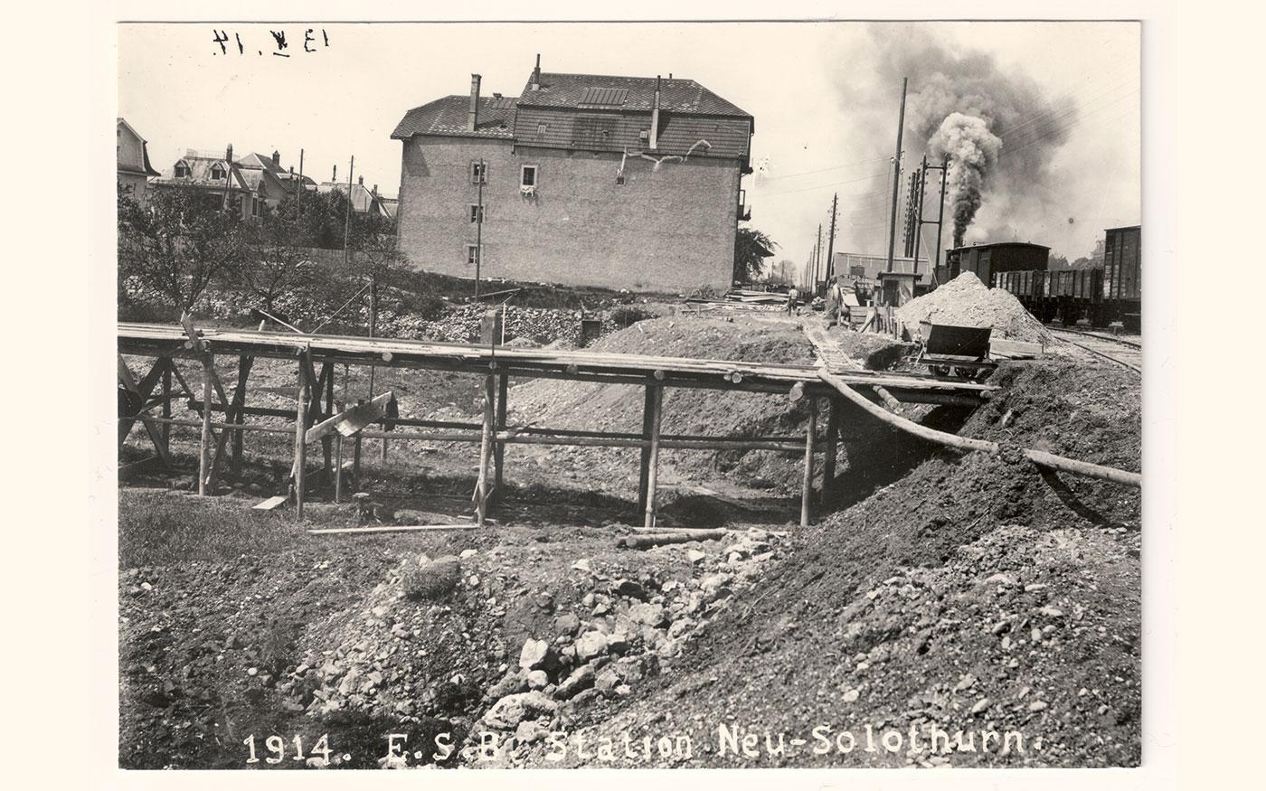 Bau der Bahnverbindung Solothurn-Bern 1914