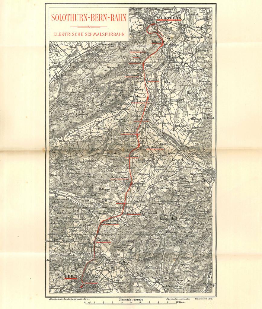 Der vereinbarte Streckenverlauf Bern-Solothurn 1913