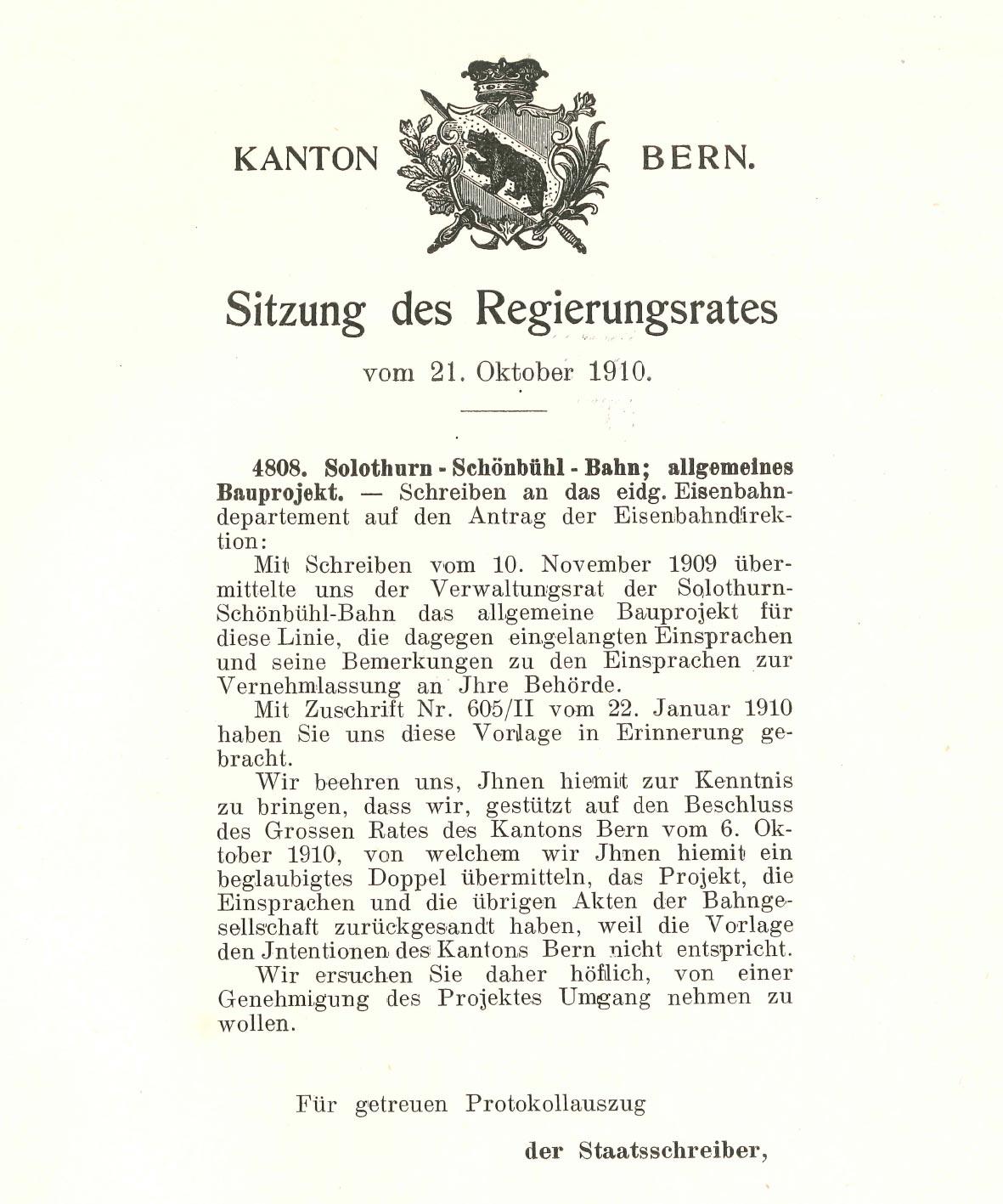 Bried des Regierungsrates an das Eisenbahndepartement 21.10.1910