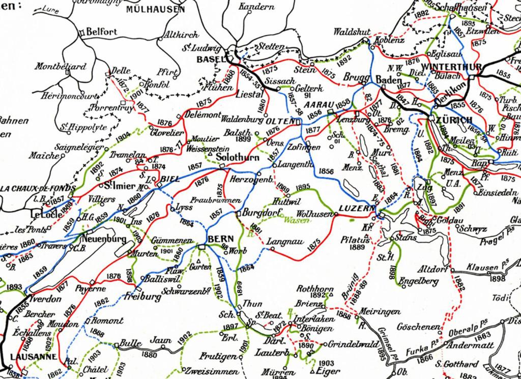 Eisenbahnen Schweiz bis 1907 Ausschnitt